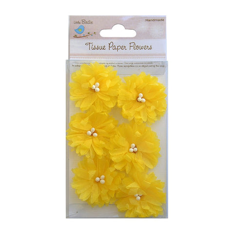 Handmade Flower Tissue Sunflowers - Yellow, 6pcs