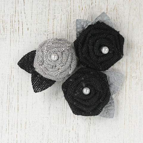 Handmade Burlap & Canvas Pearl Roses with Leaves- Galvanized & Black, 3pcs