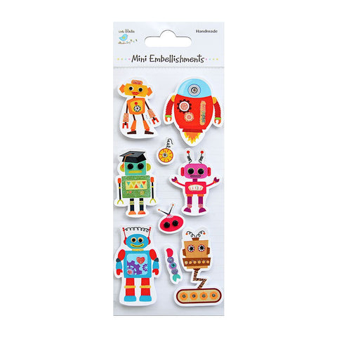 Self adhesive Stickers - Robot Family, 9pcs