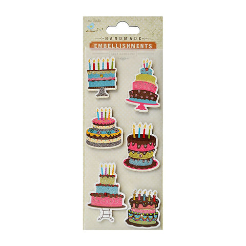 Self adhesive Stickers - Designer Cakes, 6pcs