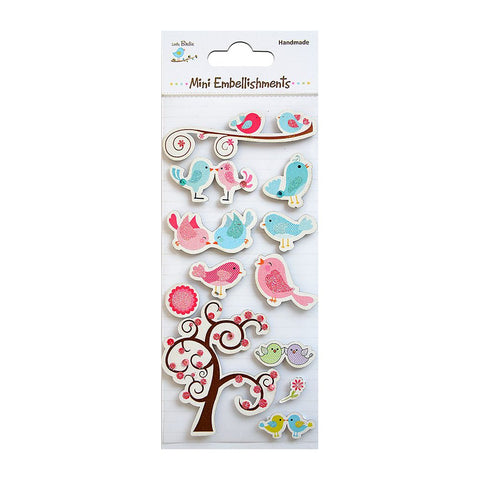 Self adhesive Stickers - Chirpy Love Birds 12pcs