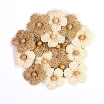 Handmade Burlap & Canvas Beaded Blooms- 15pcs