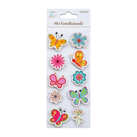 Self adhesive Stickers - Butterflies and Flowers, 10pcs