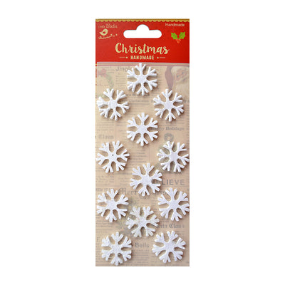3D Mini Glitter Snowflakes - Snow White, 12Pc