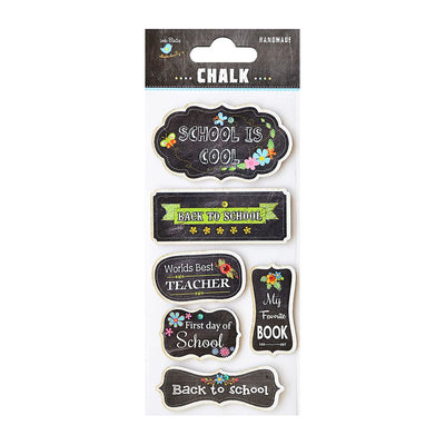 Chalk Embellishments-  Printed Back To School, 6pcs