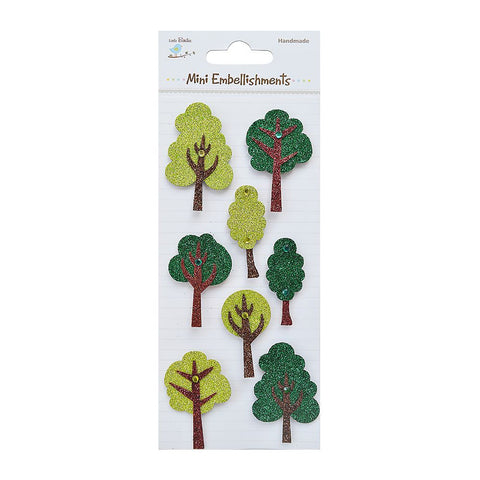 Glitter Embellishments-  Trees 8pcs