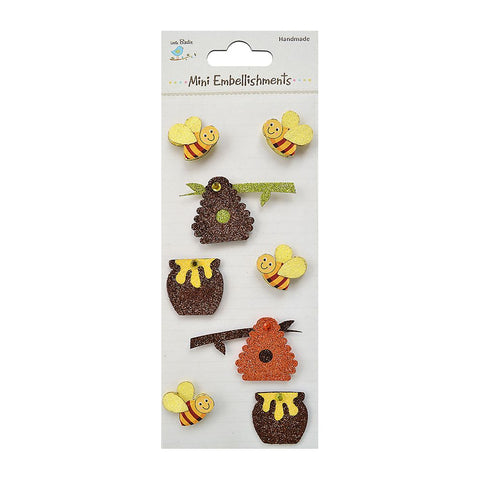 Glitter Embellishments-  Bees with Honey, 8pcs