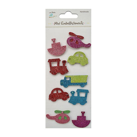 Glitter Embellishments-  Transport Modes, 9pcs