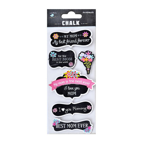 Chalk Embellishments-  Printed Best Mom Wishes, 6pcs
