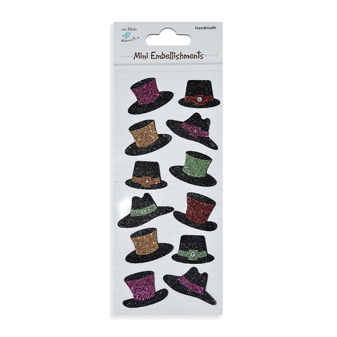 Glitter Embellishments-  Hats, 12pcs