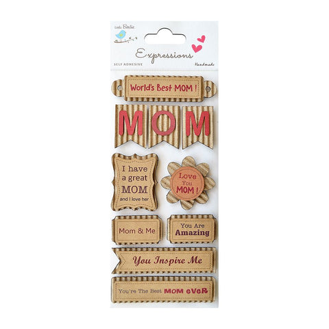 Corrugated Embellishment- Mom Is The Best, 10pcs