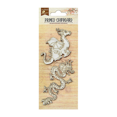 Primed Chipboard - Raging Dragons, 2pcs
