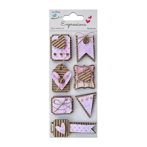 Corrugated Embellishment- Peached Tags Pink 7pcs
