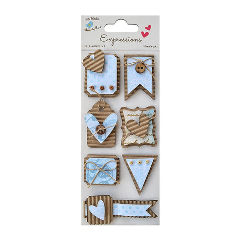 Corrugated Expression Tags - Blue, 7Pc