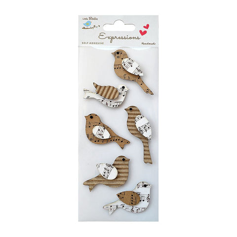 Corrugated & Printed Kraft Birds 6Pc Expressions
