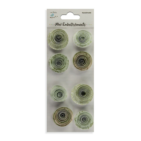 Handmade Flower Spiral Rose Green 8pcs