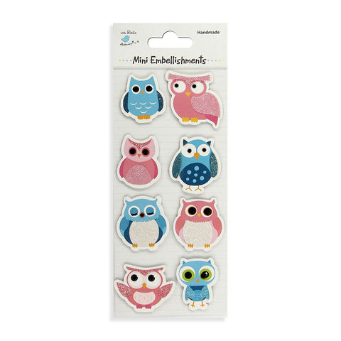 Self adhesive Stickers - Wise as an Owl, Blue and Pink, 8pcs