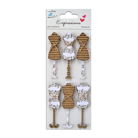 Corrugated Embellishment-A Tailor's Notes 6pcs