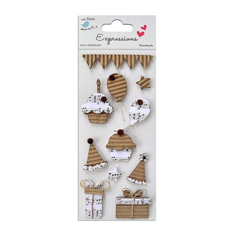 Corrugated Embellishment- Birthday Music, 11pcs