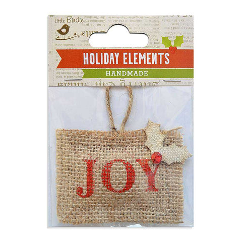 Christmas Burlap Natural Puffy Pouch Joy Red 1pc