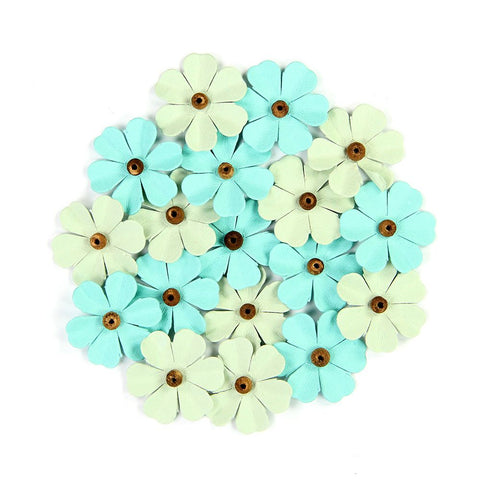 Handmade Flower Beaded Fancies - Pacific Blue, 18pcs