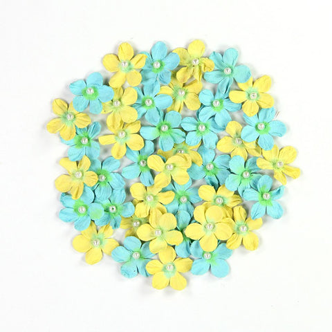 Handmade Flower Pearl Petites - Frosty Lemon, 40pcs