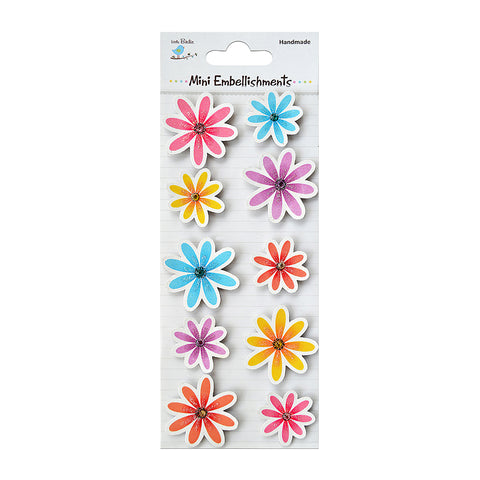 Handmade Flower Jewelled Daisies 10pcs Mini Embellishments
