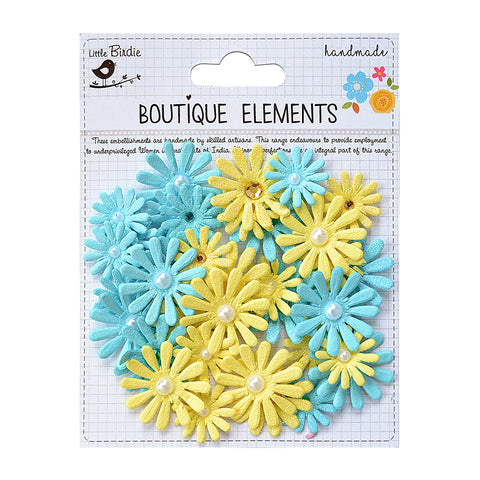 Handmade Flower Jewelled Pearl Daisies-  Frosty Lemon 36pcs