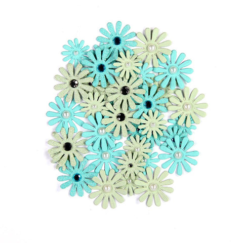 Handmade Flower Jewelled Pearl Daisies - Pacific Blue, 36pcs