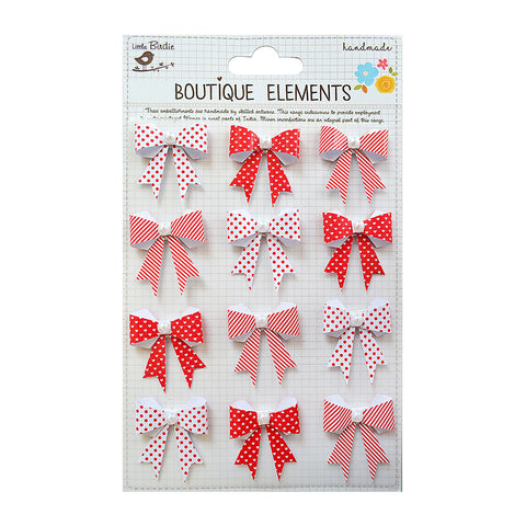 Printed Pearl Bows Red 12pcs