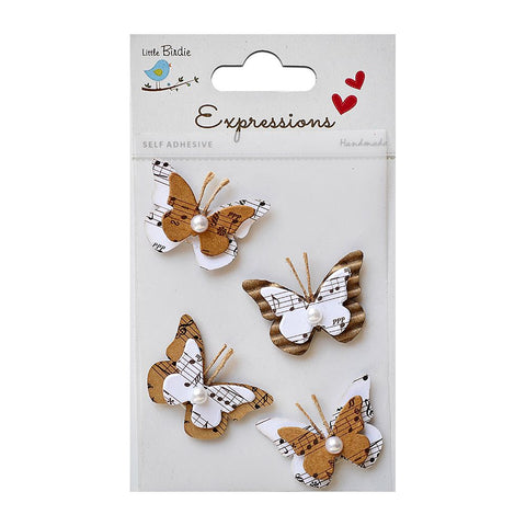 Corrugated & Printed Kraft Melody Pearl Butterflies 4pcs