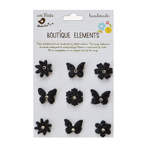 Self adhesive Stickers - Flowers and Butterflies, Ebony Black, 9pcs