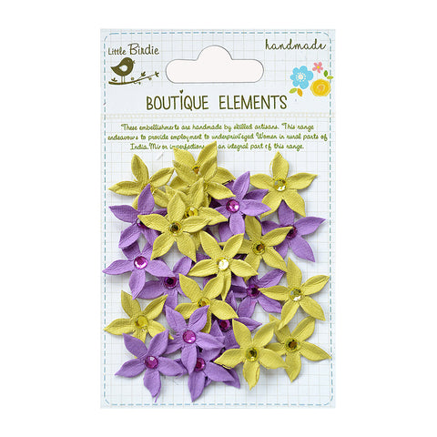 Handmade Flower Jewelled Star Florettes Aubergine 25pcs