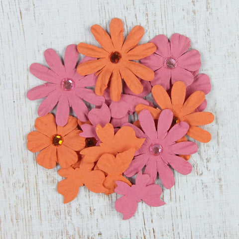 Handmade Flower Butterflies N Blooms - Scarlet Blush, 15pcs