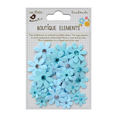 Handmade Flower Sparkle Florettes-  Jamaican Sea 32Pc