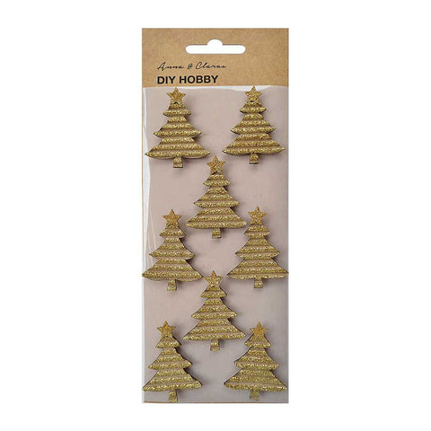 Christmas Glitter Corrugated Trees Gold, 8pcs