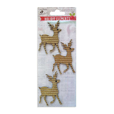 Christmas Glitter Corrugated Reindeers Gold 3pcs