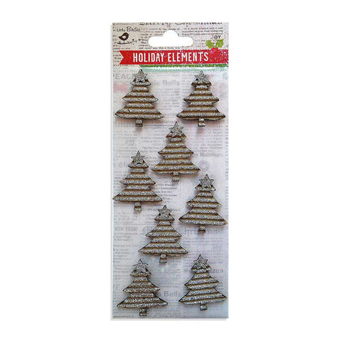 Christmas Glitter Corrugated Trees Silver, 8pcs