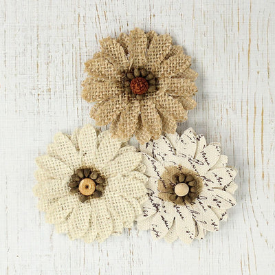 Handmade Burlap Robin- Natural & Cream, 3pcs
