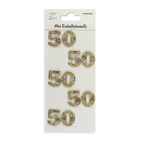 Glitter Embellishments-  Number 50, 10pcs