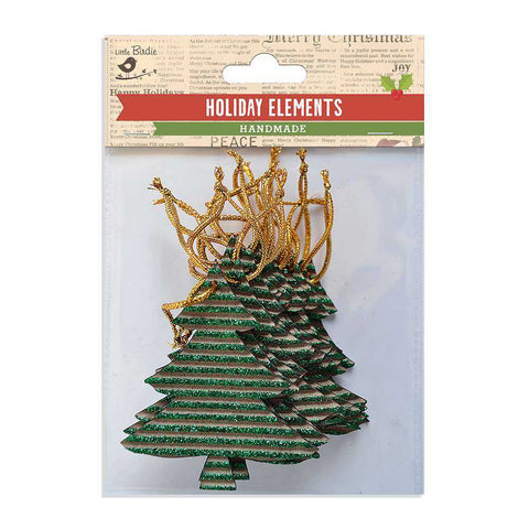 Christmas Corrugated Glitter Hangings Trees Green 18pcs