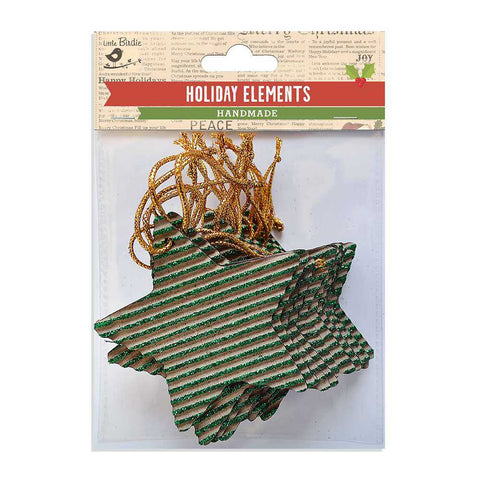 Christmas Corrugated Glitter Hangings Stars Green 18pcs