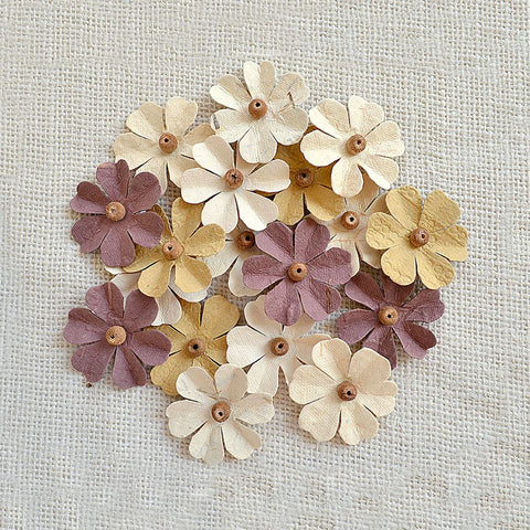 Handmade Flower Beaded Fancies - Vanilla Suede, 18pcs