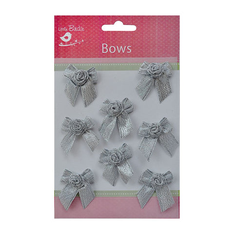 Bows with Rose Silver 8pcs