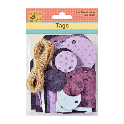 Asstd Tags With Jute Twine 14m Purple 52Pc Walmart