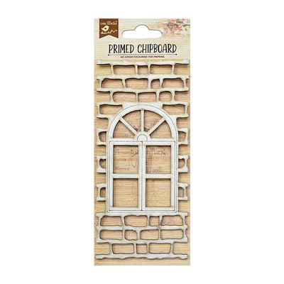 Chipboard Brick With Window 1pc Little Birdie