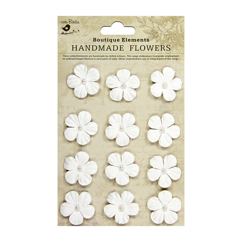 Embossed Pearl Petals White 12 Pc