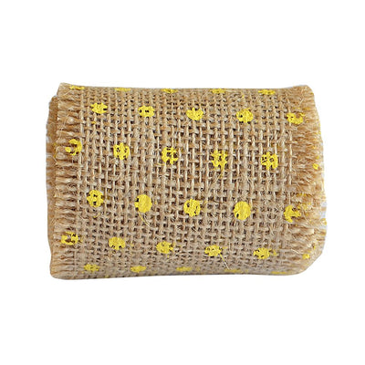 Dotted Burlap Ribbon Roll 6cm X 2mt Yellow 1pc