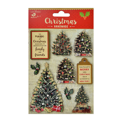 Vintage Christmas Embellishments- Decorated Trees, 9Pc