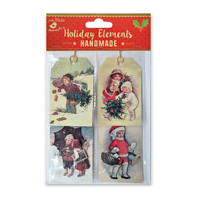 Christmas Vintage Tags - Boys & Girls 4pcs